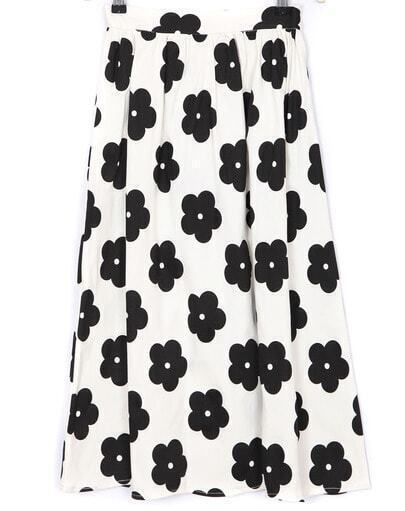White Rose Print Long Skirt