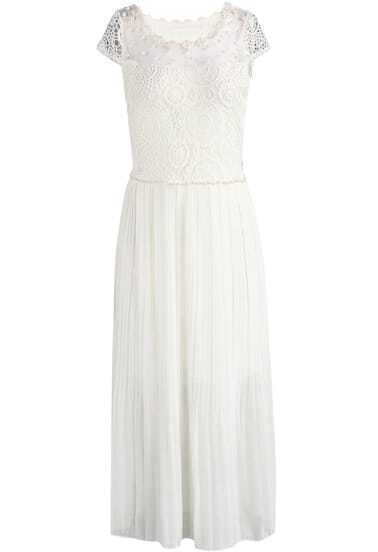 Beige Short Sleeve Contrast Lace Bead Chiffon Dress