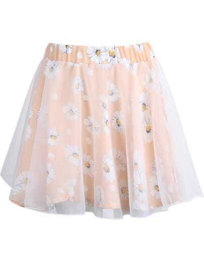 Pink Contrast Organza Floral Chiffon Skirt