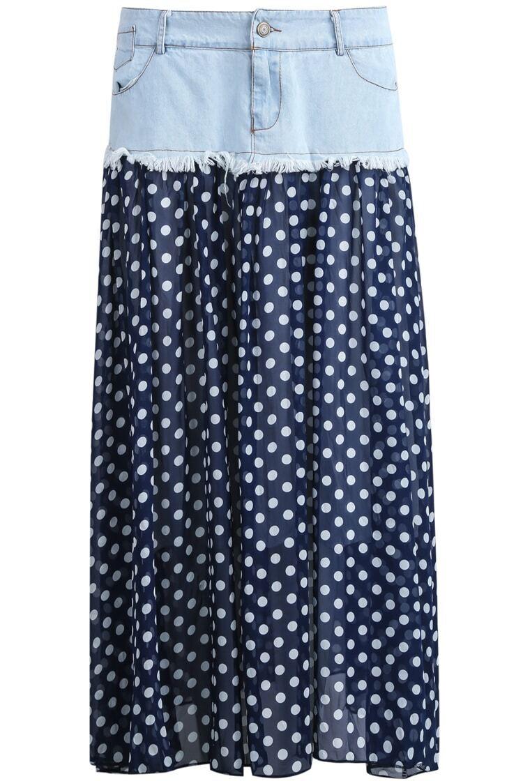blue denim contrast polka dot chiffon skirt shein sheinside