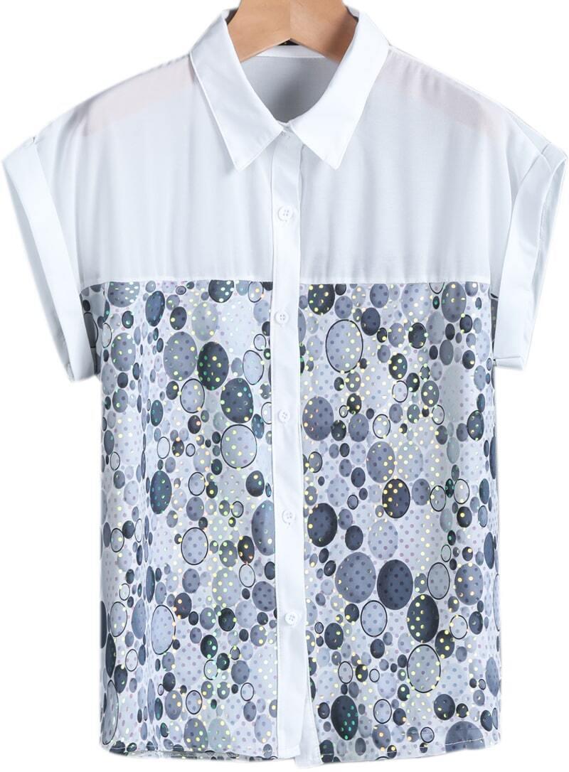 Grey Short Sleeve Polka Dot Sequined Blouse Shein Sheinside
