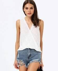 White V Neck Sleeveless Slim Vest
