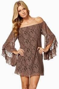 Khaki Long Sleeve Off The Shoulder Lace Dress