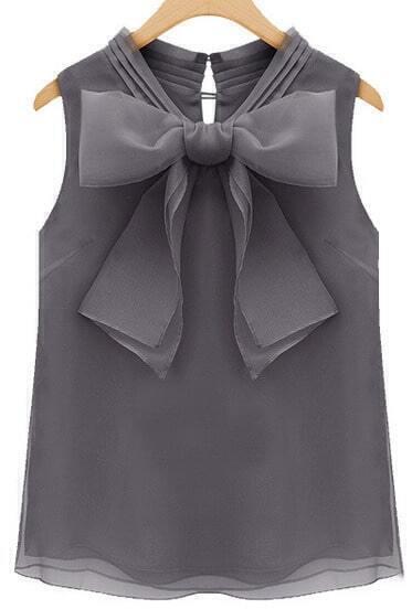 Grey Sleeveless Bow Organza Blouse