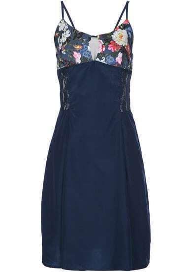 Navy Contrast Floral Spaghetti Strap Chiffon Dress