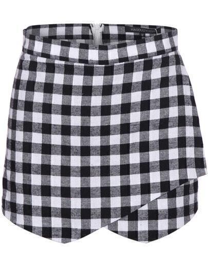 Black White Plaid Skirt Shorts