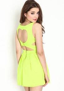 Yellow Sleeveless Heart Thief Pleated Dress