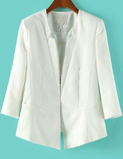 White Long Sleeve Covered Button Blazer
