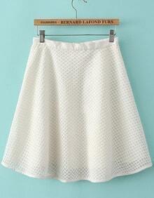 White Hollow Plaid Zipper Skirt