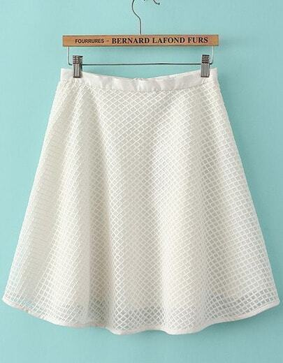 White Hollow Plaid Zipper Skirt