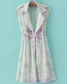 Purple Lapel Sleeveless Drawstring Floral Coat