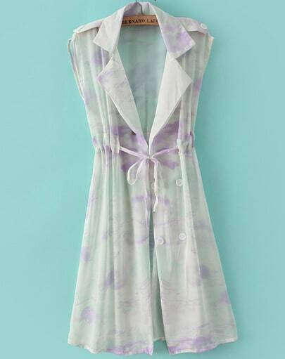 Purple Lapel Sleeveless Drawstring Floral Coat