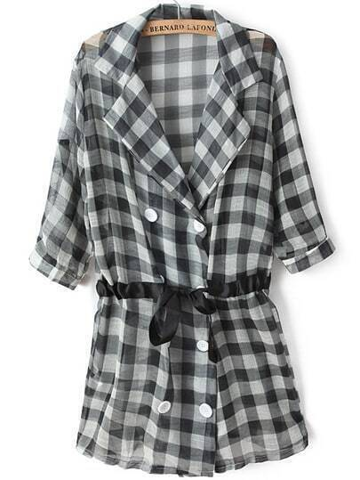 Black Lapel Half Sleeve Plaid Drawstring Coat