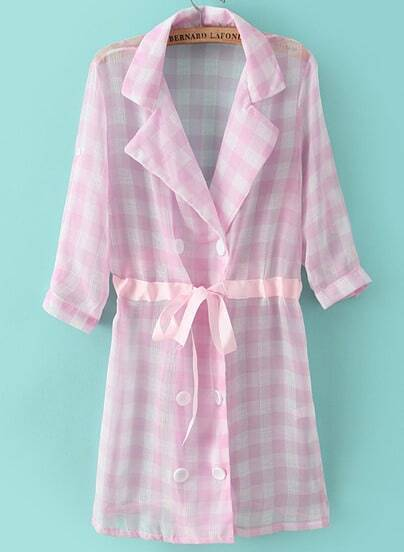Pink Lapel Half Sleeve Plaid Drawstring Coat