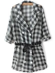 Black Lapel Half Sleeve Plaid Drawstring Coat