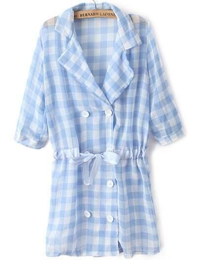 Blue Lapel Half Sleeve Plaid Drawstring Coat