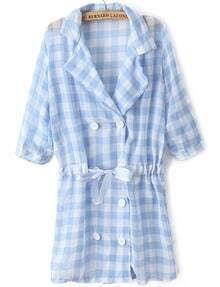 Blue Lapel Half Sleeve Plaid Drawstring Coat