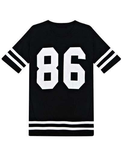 Black Short Sleeve 86 Print Number Comfort Racewear Monogrammed Loose T-Shirt