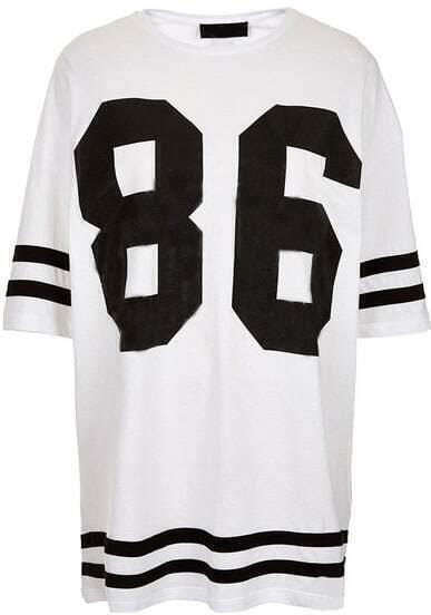 White Short Sleeve 86 Print Loose T-Shirt