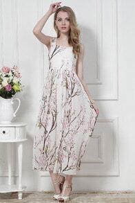 White Sleeveless Floral Chiffon Full Length Dress
