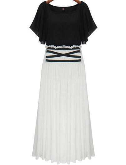 Black White Short Sleeve Pleated Chiffon Dress