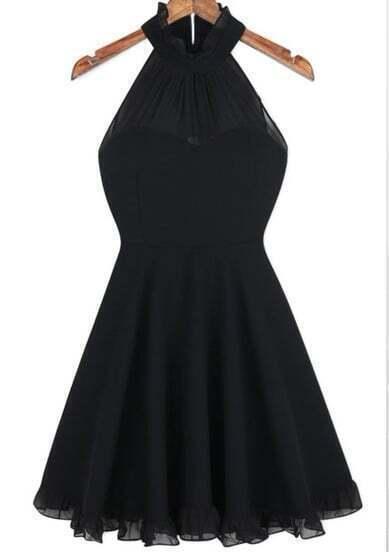 Black Halter Sleeveless Pleated Dress