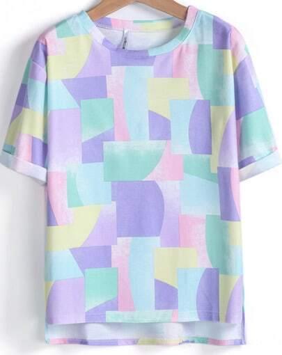 Purple Short Sleeve Geometric Print Loose T-Shirt