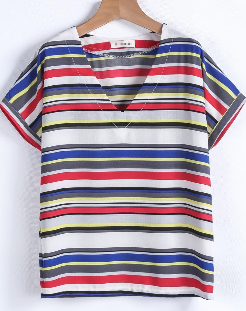 Blue white striped v neck chiffon t shirt shein sheinside for Blue white striped t shirt