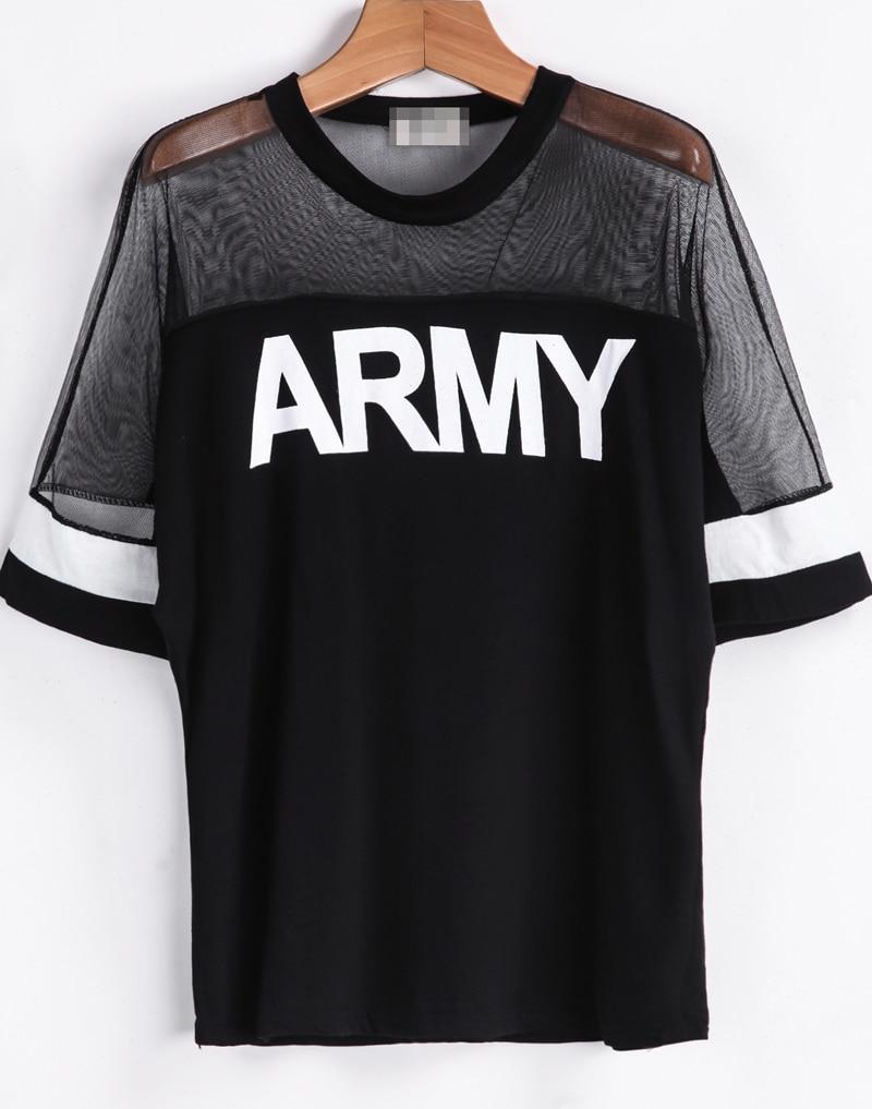 Black Contrast Sheer Mesh Yoke ARMY Punk Comfortable Halloween Eve Sexey Print T-Shirt