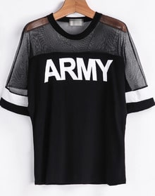 Black Contrast Sheer Mesh Yoke ARMY Print T-Shirt