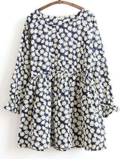 Navy Long Sleeve Daisy Print Dress