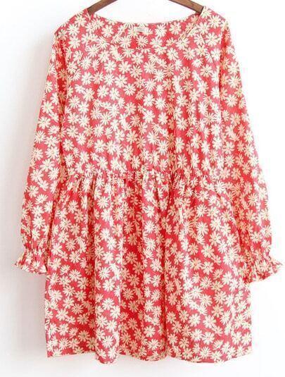 Red Long Sleeve Daisy Print Dress