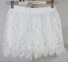White Sunflower Crochet Lace Shorts