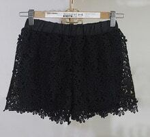 Black Sunflower Crochet Lace Shorts