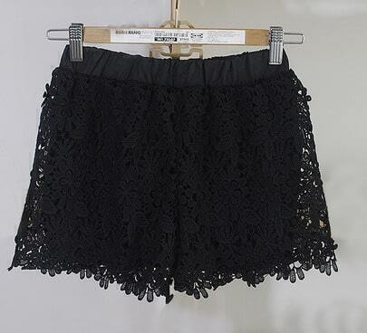 Black Sunflower Crochet Lace Shorts
