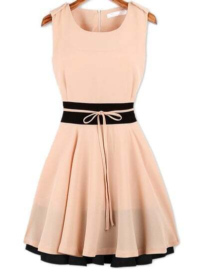 Pink Sleeveless Ruffle Belt Chiffon Dress