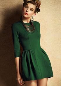 Green Half Sleeve Zipper Slim Dress