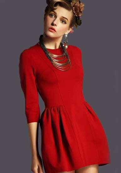 Red Rouge Half Sleeve Zipper Slim Dress