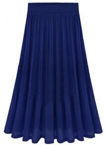 Blue High Waist Chiffon Pleated Skirt