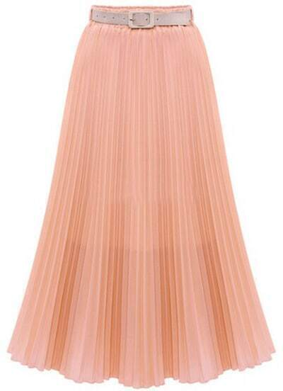 Pink High Waist Pleated Long Chiffon Skirt