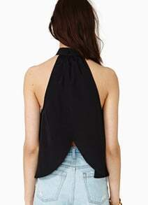 Black Stand Collar Off the Shoulder Chiffon Tank Top