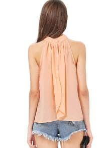 Pink Stand Collar Off the Shoulder Chiffon Tank Top