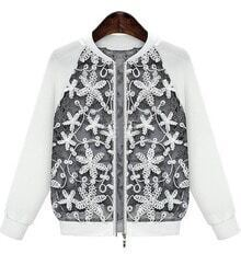 White Long Sleeve Embroidered Zipper Jacket