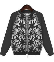 Black Long Sleeve Embroidered Zipper Jacket