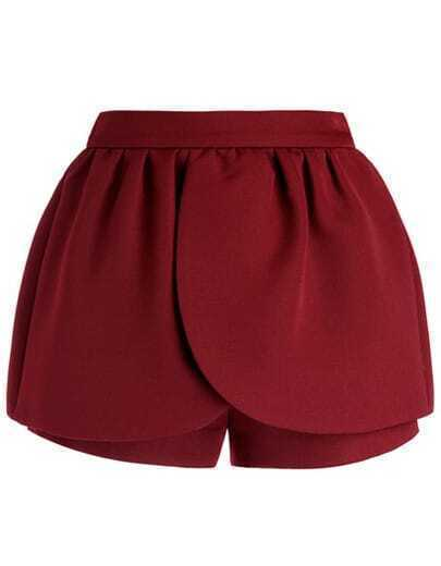 Red Mid Waist Ruffle Shorts