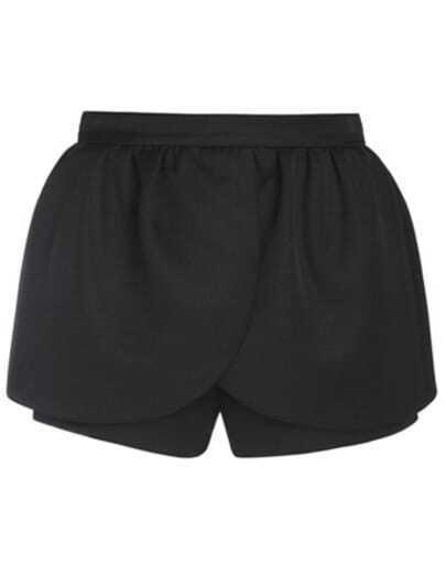 Black Mid Waist Ruffle Shorts