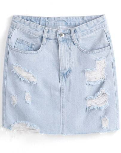 Light Blue Ripped Denim Skirt