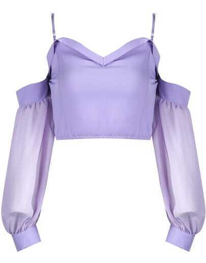 Purple Spaghetti Strap Off the Shoulder Crop Top