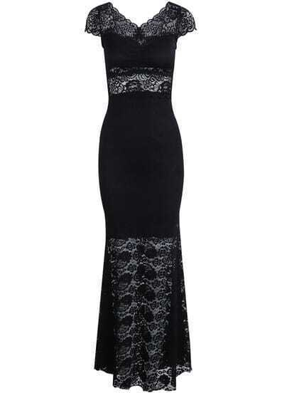Black Short Sleeve Hollow Lace Long Dress