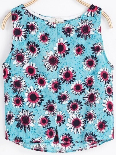 Blue Sleeveless Floral Chiffon Vest